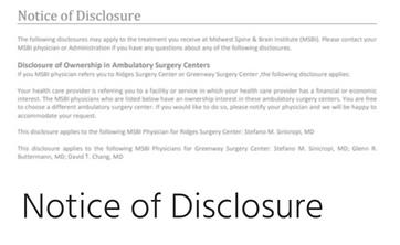 Notice of Disclosure